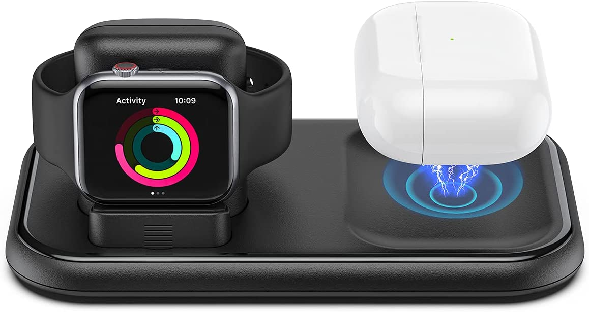 KELEKINA Wireless Charger for Apple Watch and AirPods, 2 in 1 Charger Stand, Magnetic Charging Station for AirPods Pro/2 and iWatch Series SE/6/5/4/3/2/1/44mm/42mm/40mm/38mm-Black