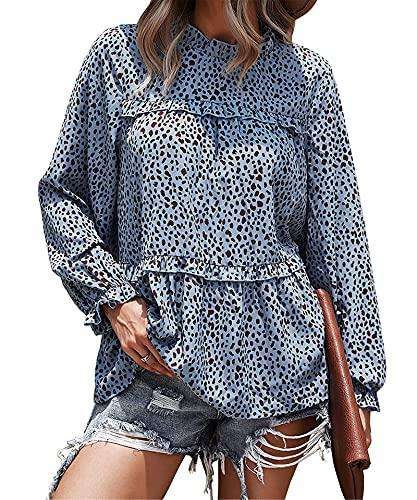 Camiseta de manga larga casual de cuello redondo suelta para mujer con estampado de leopardo, azul, XXL