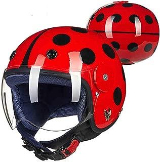 YGFS Carbon Fiber Motorcycle Children's Helmet Dot Certified Four Seasons Safe Child Half Helmet (red Ladybug)