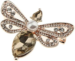 Vintage Rhinestone Bee Pin Brooch Antique Women Brooch Pin Costume Jewelry   Color - Champagne