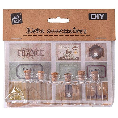 TE-DecoArt DIY 6 o 12 Unidad Mini Botellas de Vidrio Set con Corcho 9 Adhesivo Etiquetas dekofläschchen BOTELLITAS DE Vidrio - 6