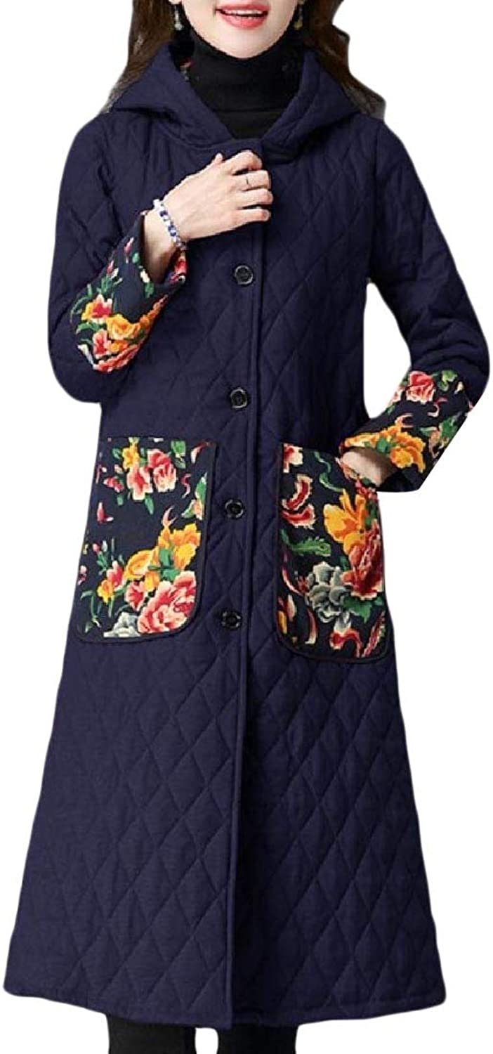 Coolhere Women Hoodie Thickened Outdoor Linen Cotton Quilted Down Parka