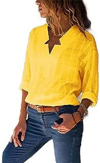 Mogogo Women's V-Neck Asymmetrical Plaid Blouse Fashion Pocket Tops