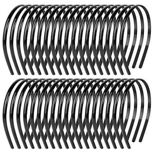 36 Stück Haarreifen DIY Haar Stirnband aus Kunststoff Schwarze Haarschmuck mit Zähne für Mädchen Damen Plain Stirnbänder