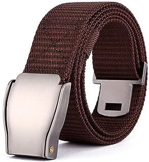 Outdoor Climbing Men's Nylon Belt Canvas Belt Student Sports Belt Long 125cm (Color : Coffee)