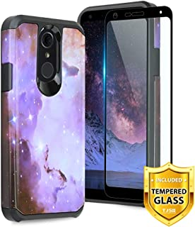 TJS LG Q7 / LG Q7 Plus Case, with [Full Coverage Tempered Glass Screen Protector] Dual Layer Hybrid Shockproof Drop Protection Impact Rugged Phone Case Armor Cover (Stardust)