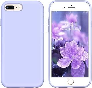 YINLAI iPhone 8 Plus Case Slim Purple,iPhone 7 Plus Silicone Case,Soft Liquid Silicone Rubber Cover Hybrid Hard Back Shockproof Protective Bumper Anti-Slip Grip Girls Women Phone Cases,Purple/Lavender