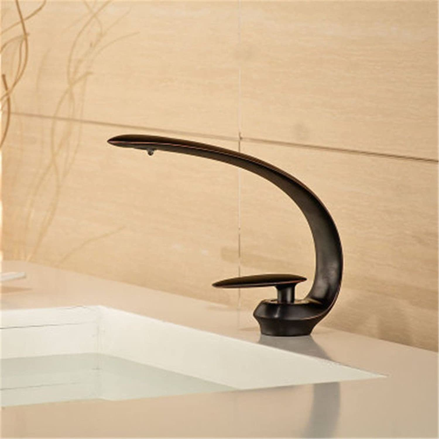 Gyps Faucet Single Lever Washbasin Mixer Tap Black Antique Tap Hot and Cold Basin Black Tap Washbasin Tap Flat Nozzle Waterfall Tap B