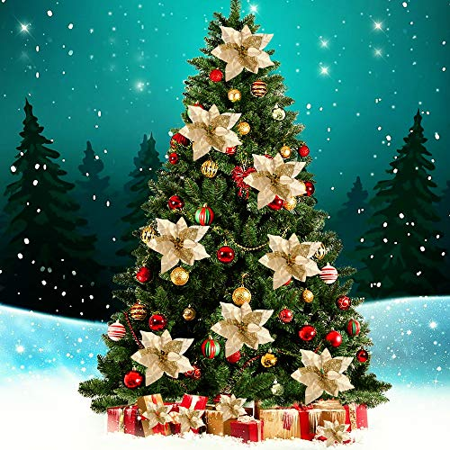 15 Pieces Christmas Glitter Artificial Poinsettia Flowers Artificial Wedding Flowers Decorations Xmas Tree Ornaments with Clips (Gold)