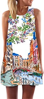 FORUU Womens Girls Vintage Boho Summer Sleeveless Beach Printed Short Mini Dress