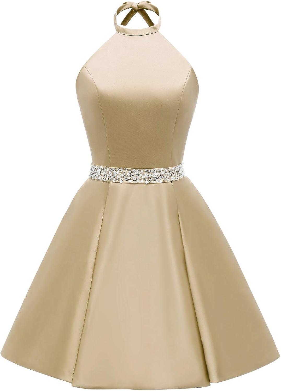 LEJY Women's Beaded Homecoming Dresses Short Satin Cocktail Prom Dress Pockets