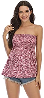 YYW Womens Strapless Pleated Tube Top Frill Crop Tank Sleeveless Bandeau Summer Vest