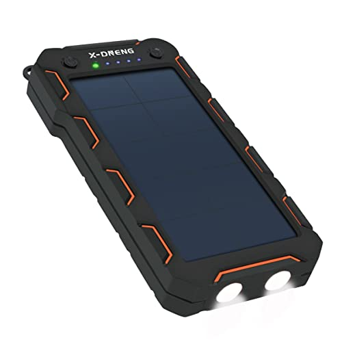 X-DNENG Solar Charger 15000mAh,External Battery Backup Rain-resistant/Shockproof Solar Phone Power Bank with High-Efficiency Solar Panel Power Dual USB Portable Charger for Phones,Tablets,Cameras
