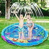 iBaseToy Splash Pad for Kids, 68 ' Large Sprinkler Water Play Mat, Wading Pool Fun Splash Pad for Kiddie & Babies, Children Outdoor Backyard Sprinkler Toys for 1-12 Years Old Boys Girls Toddlers