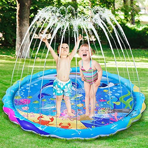 iBaseToy Splash Pad for Kids, 68' Large Sprinkler Water Play Mat, Wading Pool Fun Splash Pad for Kiddie & Babies, Children Outdoor Backyard Sprinkler Toys for 1-12 Years Old Boys Girls Toddlers