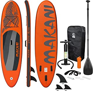 ECD Germany Tabla Hinchable Makani Paddle Surf/Sup 320 x 82 x 15 cm Naranja Stand up Paddle Board PVC/EVA hasta 150kg 3 Antideslizantes Diferentes Modelos Incluye Paleta Aluminio Bomba y Accesorios