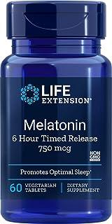 Melatonin 6 Hour Timed Release 750 mcg, 60 Vegetarian Tablets-Pack-3
