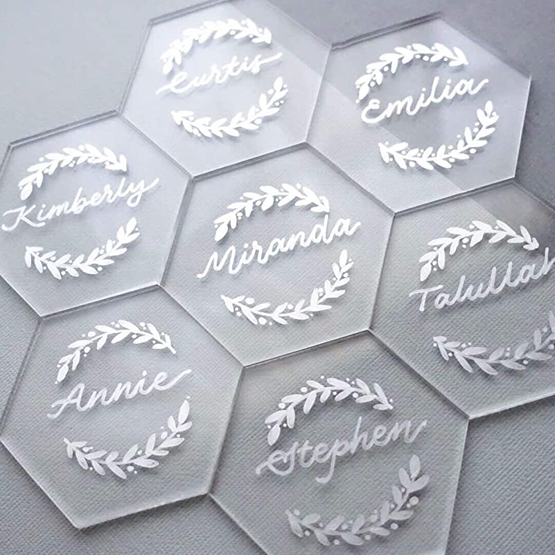 UNIQOOO 80 Clear Acrylic Escort Place Cards Extra Thick Hexagon Acrylic Plates Perfect For Wedding Dinner Parties Table Numbers Guest Name Food Signs Banquet Events 3 1 8 X 2 3 4 Inch