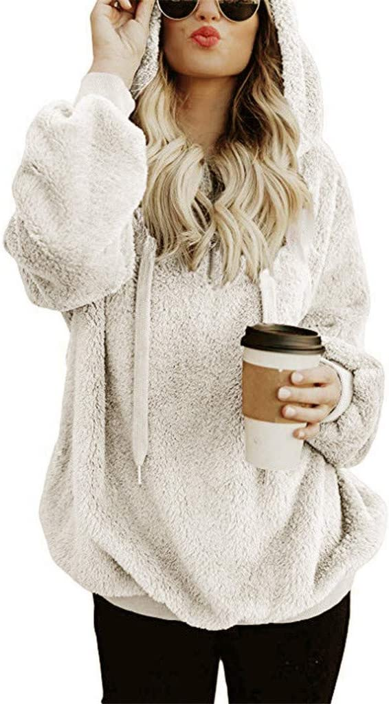 Eoailr Womens Oversized Sherpa Pullover Reservation Fuzz with Hoodie Pockets Easy-to-use