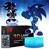 2 Patterns Sonic The Hedgehog 3D Illusion Lamp - Sonic Toys LED Night Light for Kids Room Decor, 16 Color Change with Remote Timer, Boys Girls Birthday Cool Gifts for Sonic Fans