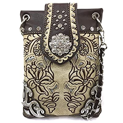 Justin West Western Embroidered Weaved Tooled Concho CrossBody Mini Handbag Phone Messenger Purse (Beige Brown)