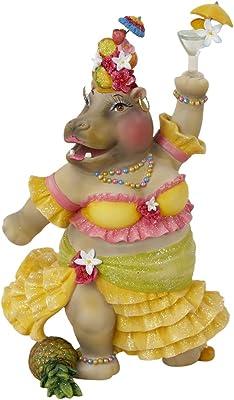 Kurt Adler Resin Hula Girl Hippo Hour Tablepiece, 7.6-Inch