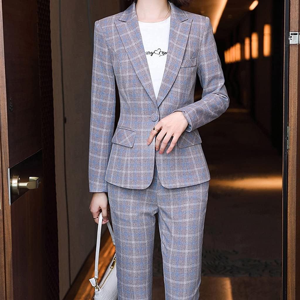 JJWC Plaid Women Blazer and Pant Suit Trouser Ladies Female Formal Office Work Business 2 Piece Set (Color : A, Size : 2XL Code)