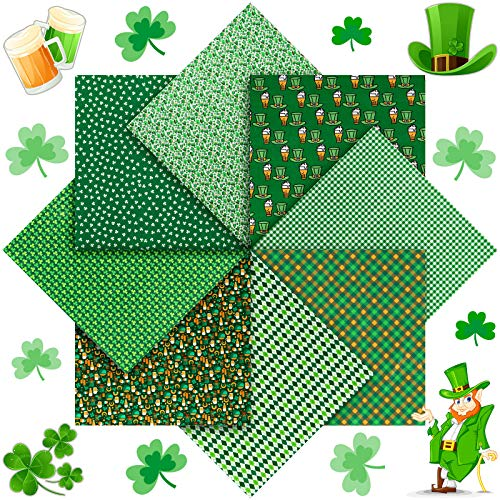 8 Pieces St Patrick's Day Fabric by The Yard Shamrock Square Fabric Bundles Fat Quarters Precut Patchwork Quilting Sewing Green Spring Fabric Scraps for DIY Craft Making (19.7 x 19.7 Inch)