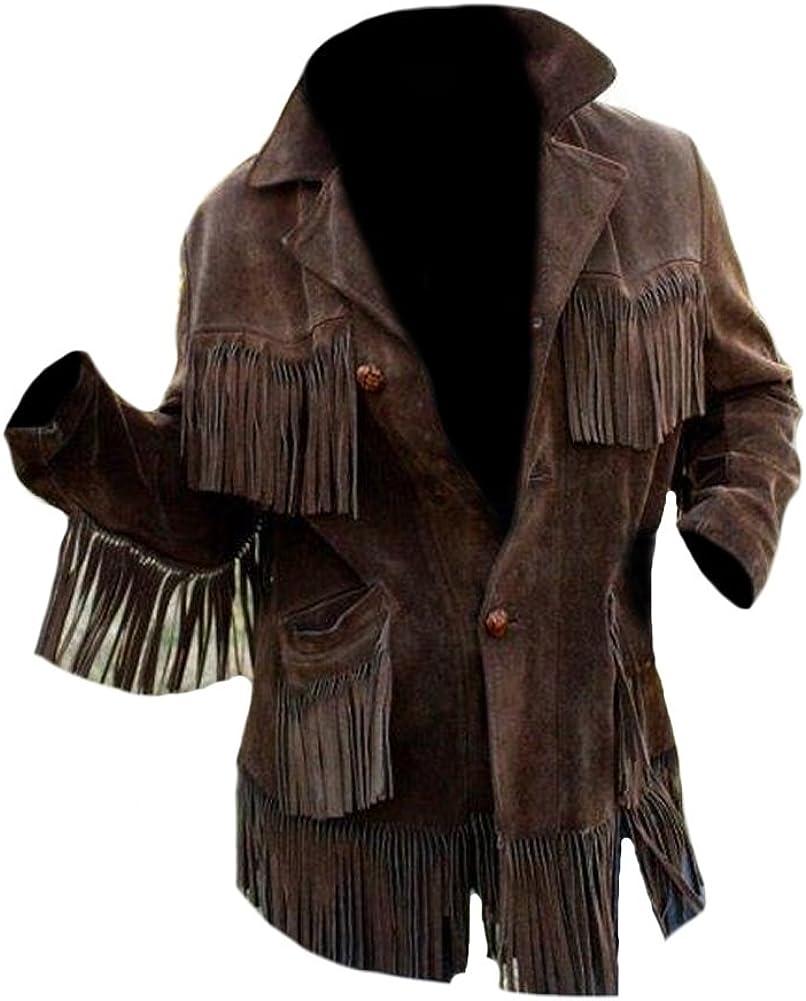 Classyak Men's Western Cowboy Fringed Coat Suede Jacket