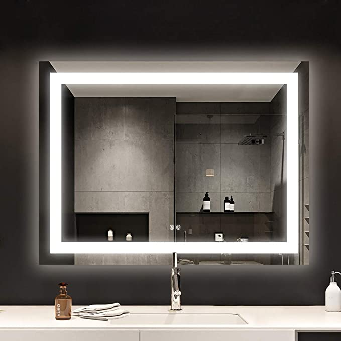 Amazon Com Sunzoom 48 X 36 Inch Led Bathroom Makeup Vanity Mirror With Lights Wall Mounted Backlit Mirror Vanity Lighted Mirror With Etl Certification For Whole Mirror Home Kitchen
