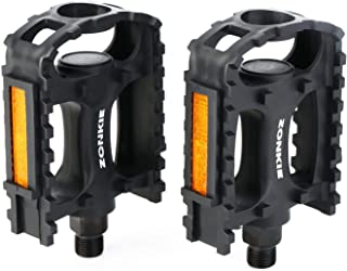 zonkie Bicycle Cycling Bike Pedals, Plastic Bicycle Pedals for MTB and Road Bike, Black, 9/16 Inch