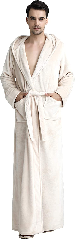Cahayi Plush Thick Bathrobe for Women Men Unisex Hooded Robe Sleepwear Housecoat