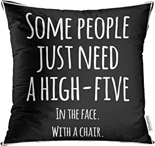 UPOOS Throw Pillow Cover Black Meme Funny Inspirational Quotation White Quote Sarcastic Decorative Pillow Case Home Decor Square 18x18 Inches Pillowcase