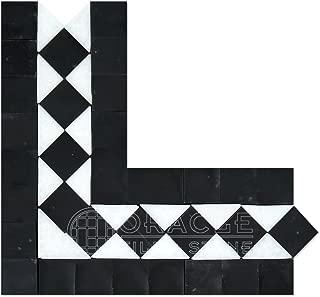 Thassos White Greek Marble BIAS Corner Border / Listello with Black Dots, Honed