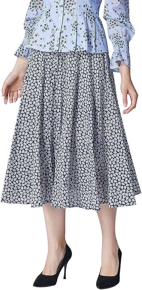 Women's Midi Skirts Swing Elastic Waist Pull on Skirt Summer Skirt A Line