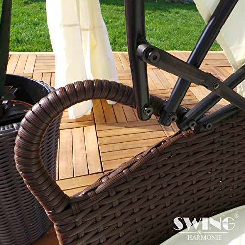 Swing & Harmonie Polyrattan Sonneninsel mit LED Beleuchtung + Solarmodul inklusive Abdeckcover Rattan Lounge Sunbed Liege Insel mit Regencover Sonnenliege Gartenliege (210cm, Grau) - 4