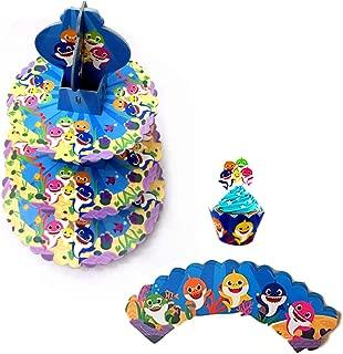 3 Tier Shark Cardboard Cupcake Stand Dessert Cupcake Holder. Shark Cupcake Wrappers,Paper Cupcake Toppers,Baby Shower Shark Party Supplies