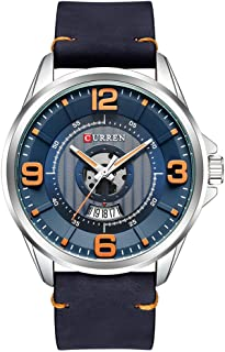 Mens Watches,CURREN Watches Quartz Analog Calendar,Wrist Watch for Men, Fashion Waterproof Stainless Steel Band-Black