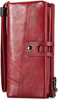 Mens Leather Bag Lady's Leather Wrist Purse Long Fashionable Head Layer Cowhide Multi-Function Wallet and Purse Bag (Color : Red, Size : S)