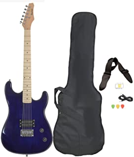 Davison Guitars 6 String Full Size Electric Guitar with Case Strap Pics and Pitchpipe Tuner (GTR235 X CSE BLUE)
