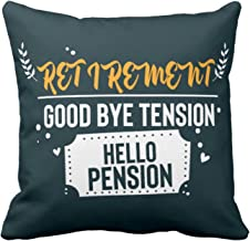YaYa cafe Good Bye Tension Hello Pension Canvas Cushion Cover, 12X12 inches (Multicolour)