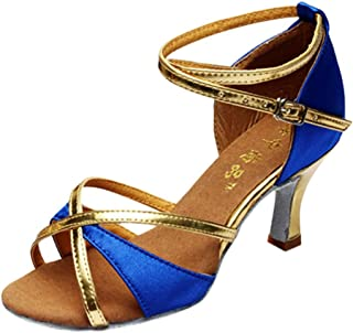 Dance Shoes,Girl Latin Med-Heels Satin Shoes Party Tango Salsa Dance Shoes