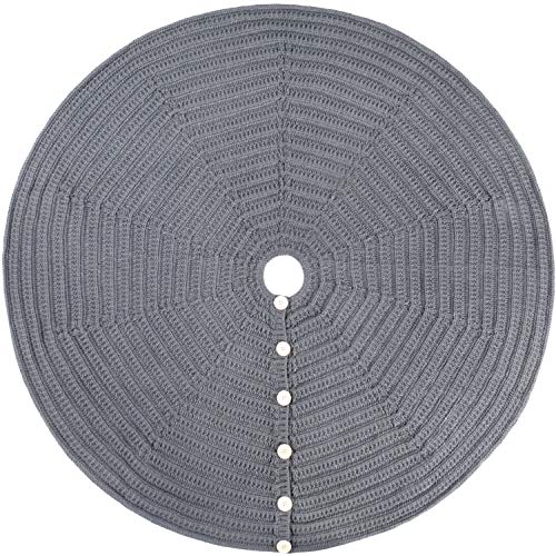 Starry Dynamo 48-Inch Knit Christmas Tree Skirt, Hand-Knitted Xmas Home Holiday Decor with 4-Inch Center Hole and 6 Wood Button-and-Loop Closure (Grey)