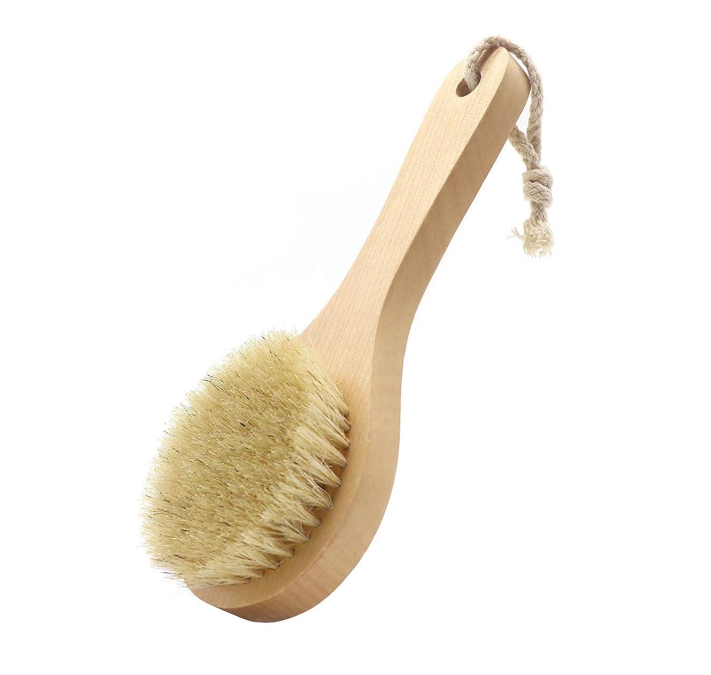 ライム消毒する政府Maltose ボディブラシ 豚毛100% 木製 天然素材 短柄 硬め 足を洗う 体洗いブラシ 角質除去 美肌 お風呂グッズ (B:20 * 8CM)