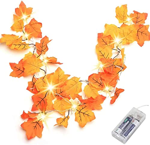 Thanksgiving Decorations Lighted Fall Garland, Thanksgiving Decor Halloween String Lights 8.2 Feet 20 LED, Thanksgivi...