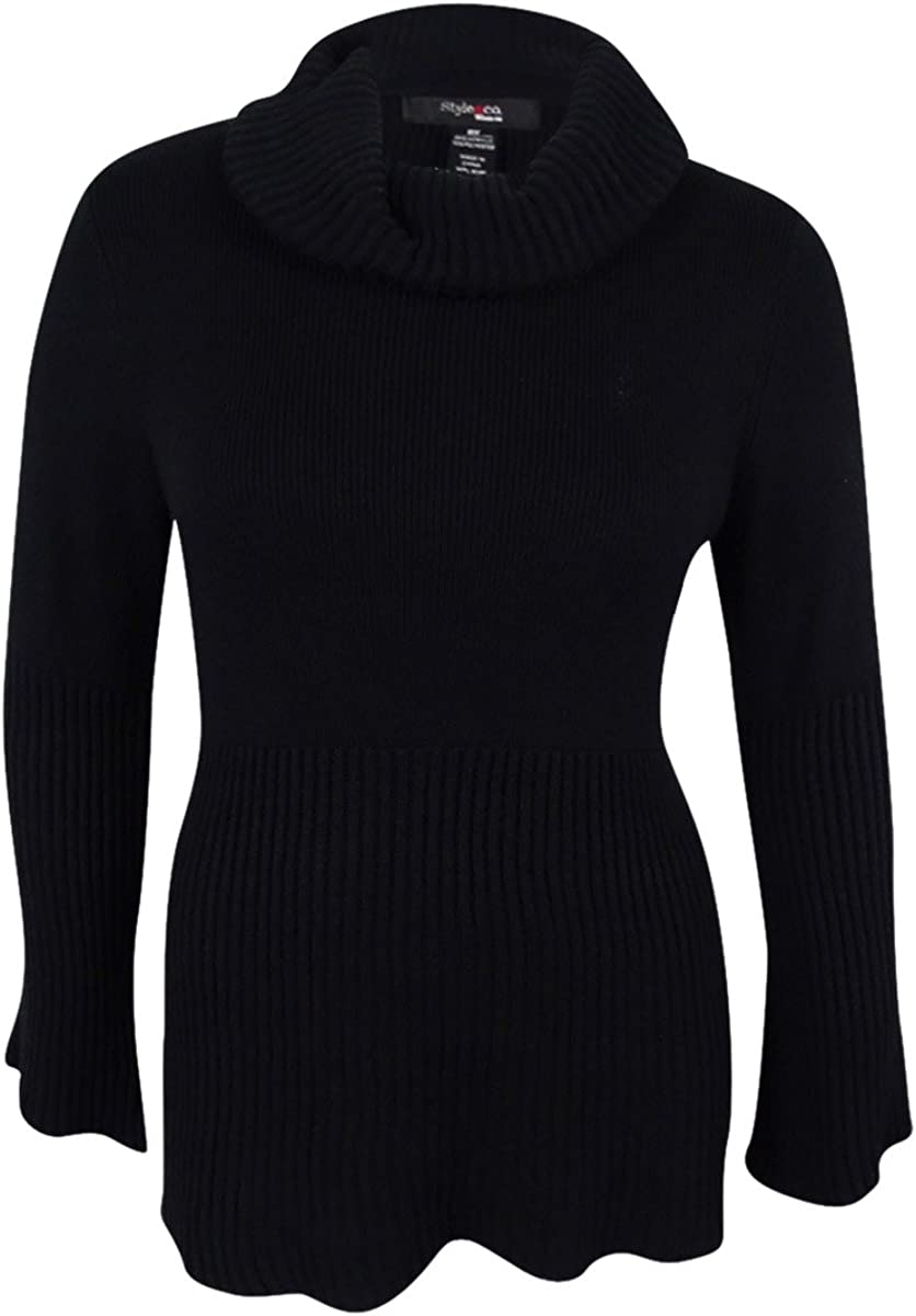 Style & Co. Womens Plus Ribbed Cowl Neck Pullover Sweater Black 0X