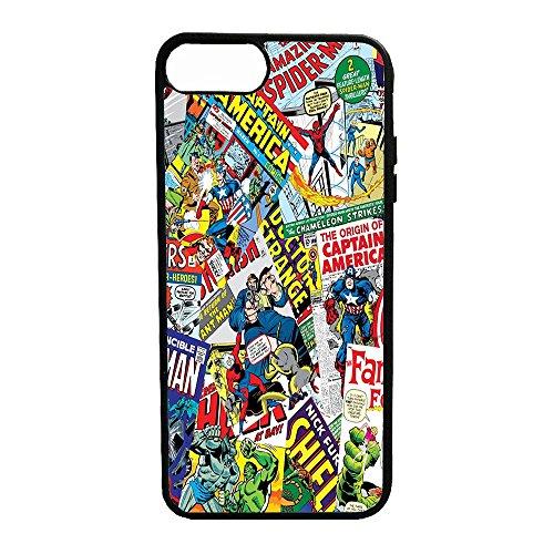 Bornsk Cover Gomma TPU Fumetti Supereroi Collage Eroi Alta QUALITA' (iPhone 7)