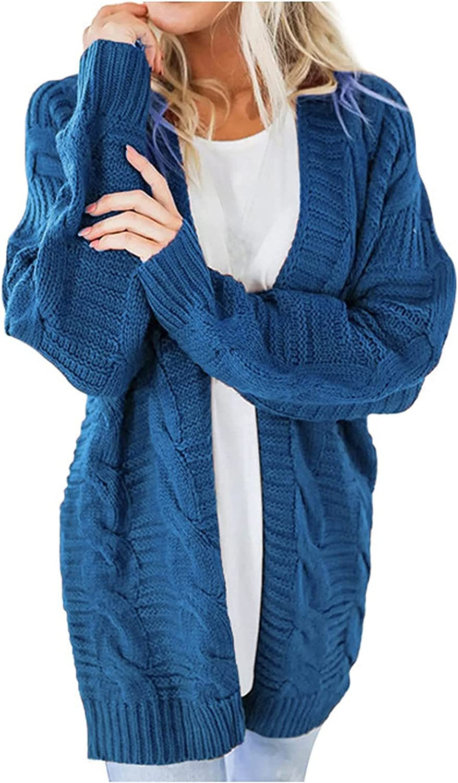 YQRDSHJS Womens Plus Size Open Front Cardigan Sweaters Cable Knit Long Sleeve Boyfriend Cardigans Outwear Coats