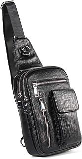 Crossbody Bag Genuine Leather Men's Chest Bag Casual Shoulder Bag Cowhide Diagonal Package Fashion High-Grade Black Leather Bag 3L Outdoor Men's Bag