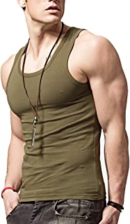 lalazaba Hyuling Men's Stringer Tank Top. Basic Cotton Muscle Workout Muscle Fitness Gym Bodybuilding Short Sleeve T-Shirt